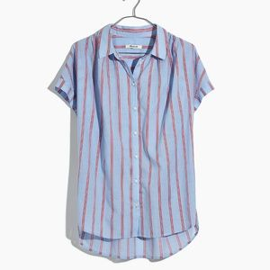 MADEWELL Central Shirt in Atwater Stripe XL